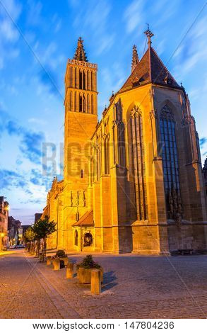 Rothenburg ob der Tauber Church, Franconia, Bavaria, Germany sunset