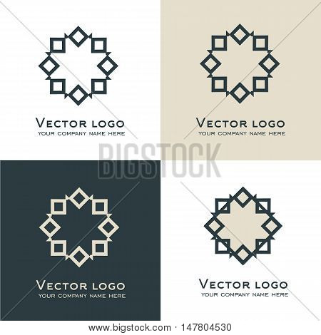 Set of vector abstract geometric logo. Celtic, arabic style. Sacred geometry icon. Identity design in grey and dark green colors