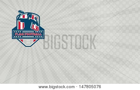 Business Card showing Illustration of a flag football player QB passing ball viewed from the side set inside shield crest with the words text Flag Football done in retro style.
