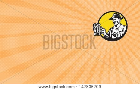 Business Card showing Illustration of a Bavarian beer drinker holding beer mug wearing lederhosen and German hat looking to the side set inside circle done in retro woodcut style.