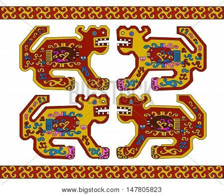 Ethnic pattern of American Indians: the Aztecs, the Mayans, the Incas. Drawing in the Mexican style.  Vector illustration