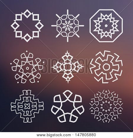 Alchemy, religion, spirituality symbols and elements. Set of vector elements on the blurred background