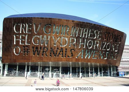 Cardiff, Wales, UK, August 31, 2016 :   The Wales Millennium Centre which opened in 2004 is an arts centre for opera, ballet, dance and theatre performances and a popular tourist attraction