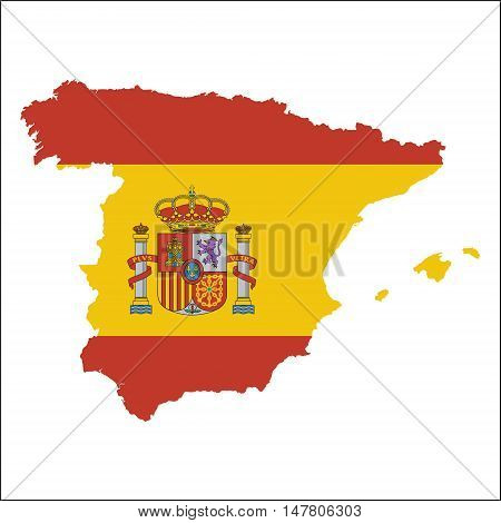 Spain High Resolution Map With National Flag. Flag Of The Country Overlaid On Detailed Outline Map I