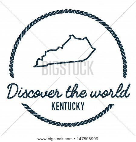 Kentucky Map Outline. Vintage Discover The World Rubber Stamp With Kentucky Map. Hipster Style Nauti
