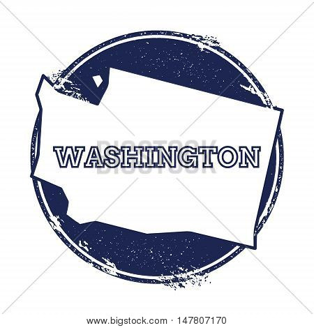 Washington Vector Map. Grunge Rubber Stamp With The Name And Map Of Washington, Vector Illustration.