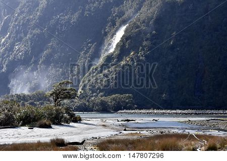 Milford Sound (Fiordland New Zealand) at low tide. 8th wonder of the world.