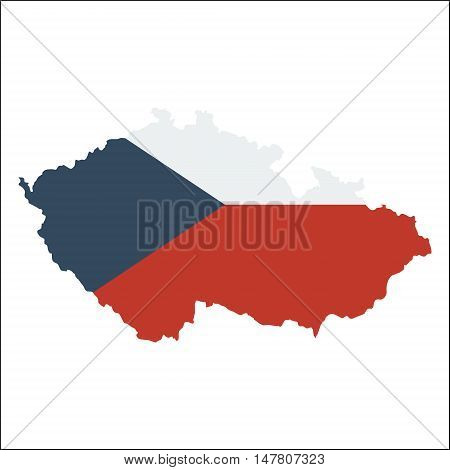 Czech Republic High Resolution Map With National Flag. Flag Of The Country Overlaid On Detailed Outl