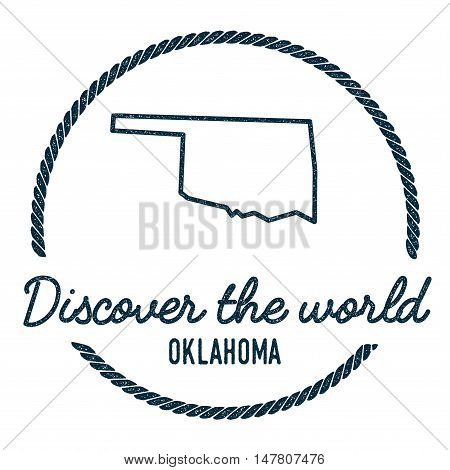 Oklahoma Map Outline. Vintage Discover The World Rubber Stamp With Oklahoma Map. Hipster Style Nauti
