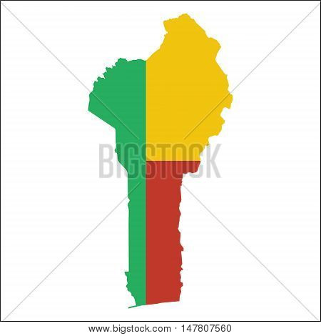 Benin High Resolution Map With National Flag. Flag Of The Country Overlaid On Detailed Outline Map I