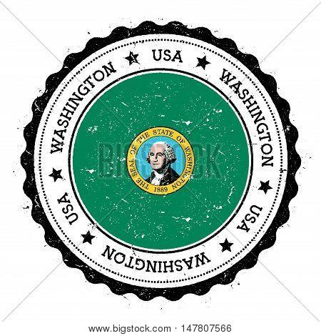 Washington Flag Badge. Grunge Rubber Stamp With Washington Flag. Vintage Travel Stamp With Circular