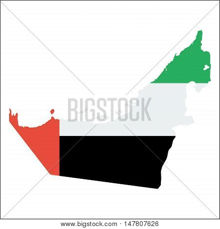 United Arab Emirates High Resolution Map With National Flag. Flag Of The Country Overlaid On Detaile