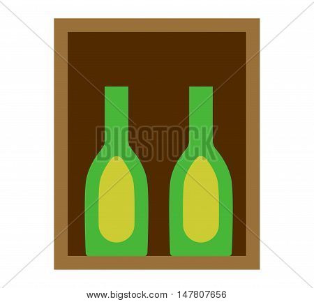 Cabernet sauvignon wine bottles in wooden crate. Liquid design glass wine box isolated on white beverage container gift. Bottles of old red wine in gift wooden box package beverage vector.