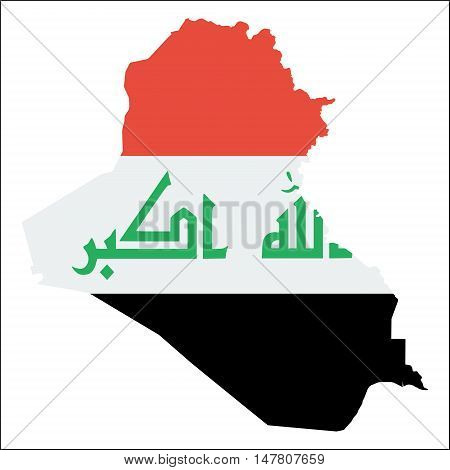 Iraq High Resolution Map With National Flag. Flag Of The Country Overlaid On Detailed Outline Map Is