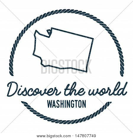 Washington Map Outline. Vintage Discover The World Rubber Stamp With Washington Map. Hipster Style N