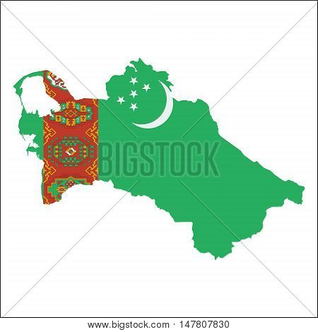 Turkmenistan High Resolution Map With National Flag. Flag Of The Country Overlaid On Detailed Outlin