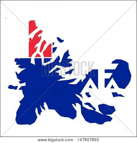 French Southern Territories High Resolution Map With National Flag. Flag Of The Country Overlaid On