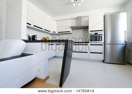 Modern new kitchen luxury interior. No brandnames or copyright objects.