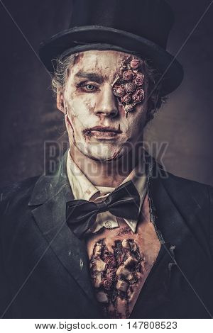 Dressed in wedding clothes romantic zombie man