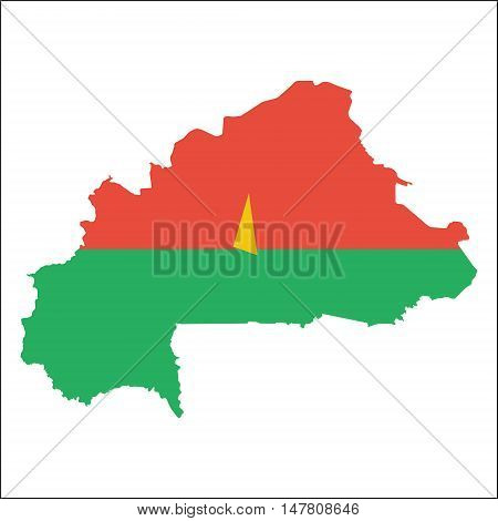 Burkina Faso High Resolution Map With National Flag. Flag Of The Country Overlaid On Detailed Outlin