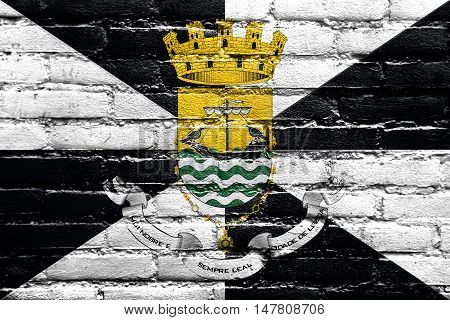 Flag Of Lisbon With Coat Of Arms, Portugal, Painted On Brick Wall