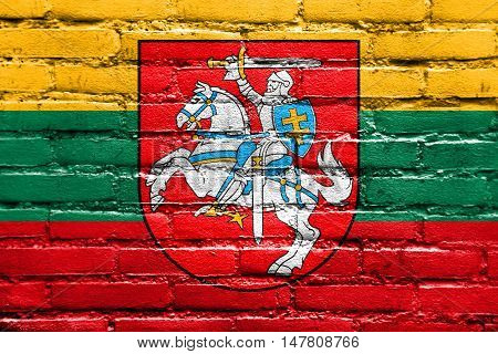 Flag Of Lithuania With Coat Of Arms, Painted On Brick Wall