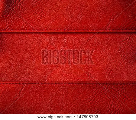 Leather Thread Seam Background Red Stitched Clothing Skin Texture