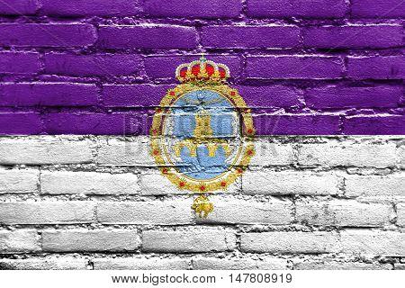 Flag Of Loja, Spain, Painted On Brick Wall
