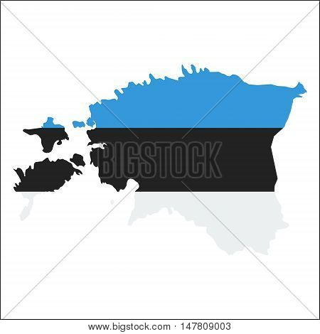 Estonia High Resolution Map With National Flag. Flag Of The Country Overlaid On Detailed Outline Map