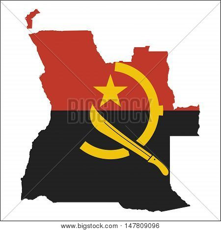 Angola High Resolution Map With National Flag. Flag Of The Country Overlaid On Detailed Outline Map