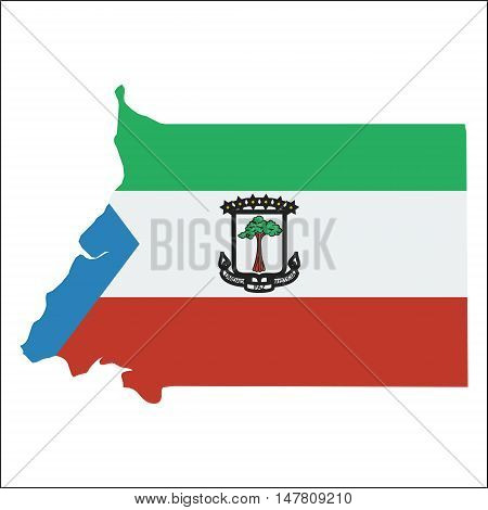 Equatorial Guinea High Resolution Map With National Flag. Flag Of The Country Overlaid On Detailed O