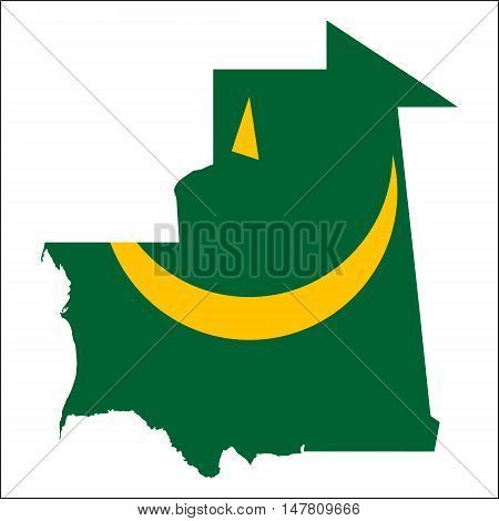 Mauritania High Resolution Map With National Flag. Flag Of The Country Overlaid On Detailed Outline