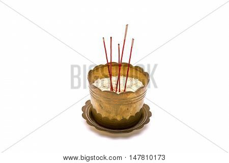 Incense Sticks In Old Incense Burner On White Background.