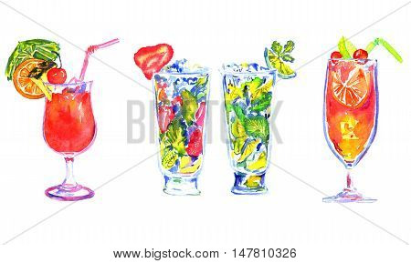 Hand Painted Watercolor Illustration Isolated Set of Cocktails: Mai Tai, Strawberry Mojito, Lime Mojito and Sex on the Beach