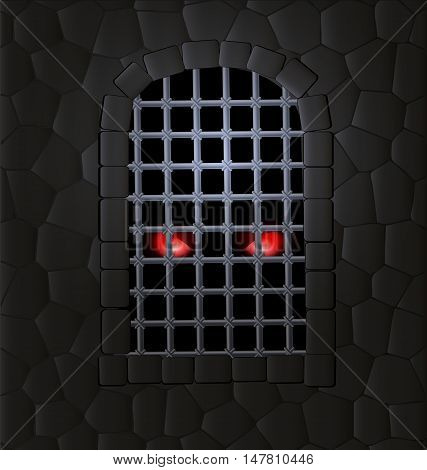 stone wall, window-arch with the iron lattice and red animal eyes inside