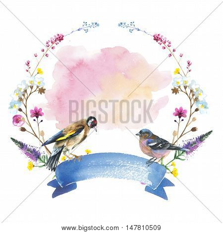 Sky bird sparrow in a wildlife wreath by watercolor style isolated. Wild freedom, bird with a flying wings. Aquarelle bird could be used for background, texture, pattern, frame, border or tattoo.