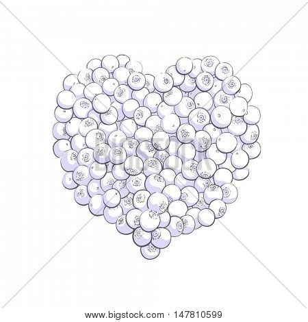 Blueberry heart shape symbol concept for healthy eating and lifestyle