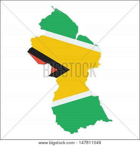 Guyana High Resolution Map With National Flag. Flag Of The Country Overlaid On Detailed Outline Map