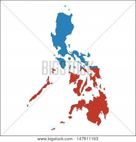 Philippines High Resolution Map With National Flag. Flag Of The Country Overlaid On Detailed Outline