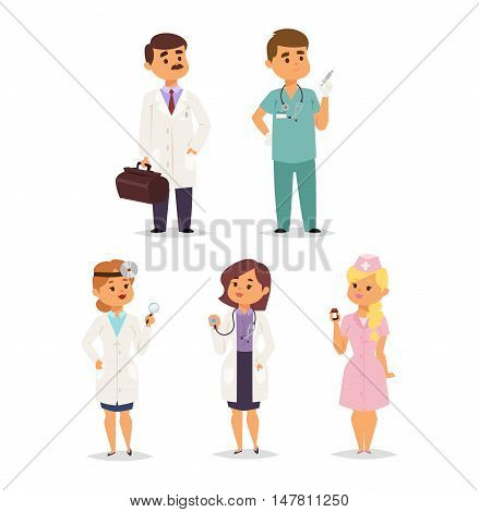 Doctor charactser vector isolated. Vector illustration of doctor on white background. Flat style different doctors characters in uniform