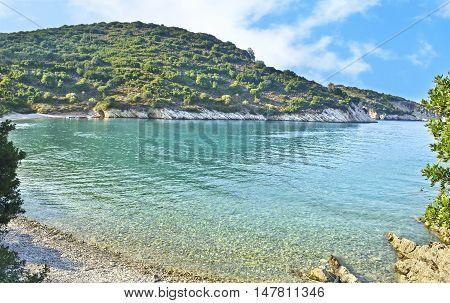 landscape of Filiatro beach at Ithaca Ionian islands Greece