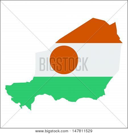 Niger High Resolution Map With National Flag. Flag Of The Country Overlaid On Detailed Outline Map I