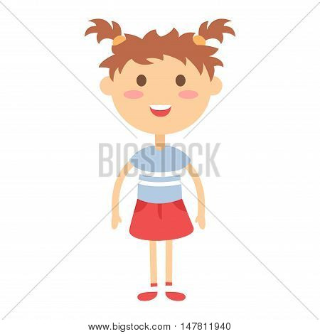 Cute baby kid girl character vector. Cute girl beautiful fashion young female. Cute girl schoolgirl isolayted on white