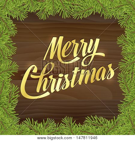 Gold Merry christmas on wood plank background with tree twig. Vector greeting card.