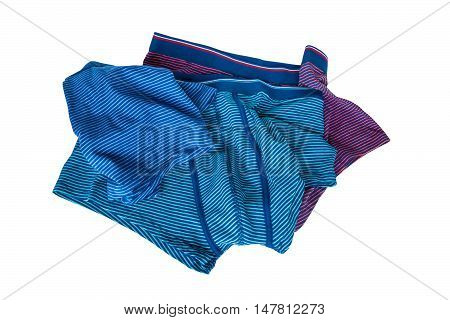 Set of male underwear isolated on white background. Dark and light blue red striped.