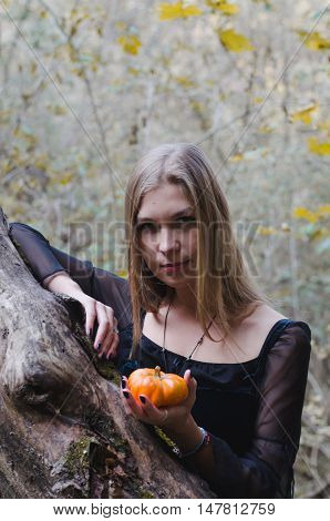 Portrait Of A Young Long-haired Blond Girl In A Black Dress Posing With A Pumpkin