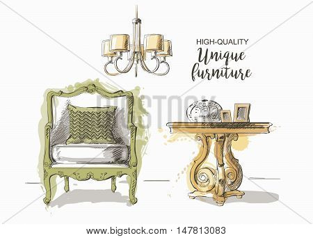 Set of hand drawn elegant antique vintage furniture and interior detail table and chair vector sketch