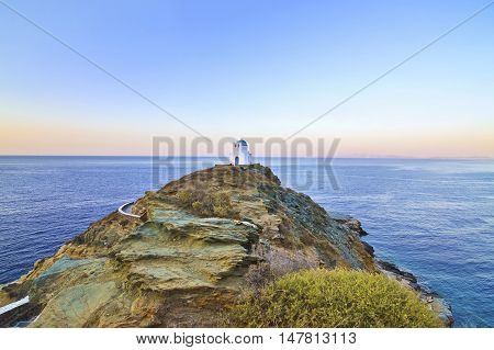 church of the Seven Martyrs Sifnos island Cyclades Greece - Aegean sea background