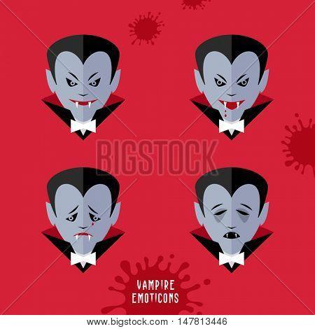 vector cartoon vampire emoticons set