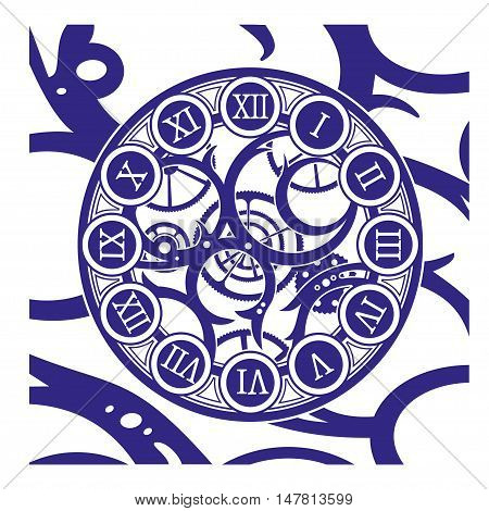 Antique Clock made of selectable ungroupable metal parts and cogs. Vector illustration